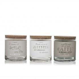 TRIS SALE/ZUCCHERO/CAFFÈ ASS. (BIANCO-CR