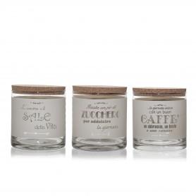 TRIS BARATTOLI SALE-ZUCCHERO-CAFFÈ CRETA
